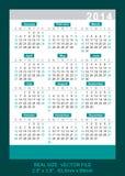 Vector il calendario 2014 della tasca, inizi la domenica Immagine Stock