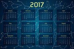 Vector il calendario per 2017 nello stile dello spazio Immagini Stock Libere da Diritti