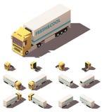 Vector il camion isometrico con l'insieme isolato o refrigerato dell'icona del semirimorchio illustrazione di stock