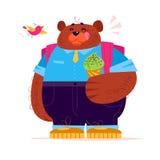 Vector il carattere sveglio piano dello studente di Big Bear che sta con il cono gelato su fondo bianco Fotografia Stock Libera da Diritti