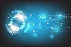 Vector il cerchio della tecnologia con vario tecnologico su fondo blu Fotografia Stock