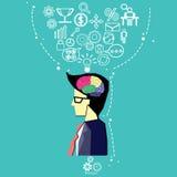 Vector il cervello degli utenti di affari nel pensiero del mercato Giovane uomo d'affari che solleva la sua testa di cui sopra de Immagine Stock