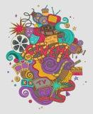 Vector il cinema, il film, schizzo disegnato a mano di scarabocchi del film simboli ed oggetti con progettazione Fotografia Stock