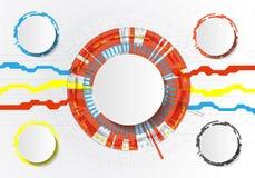 Vector il circuito futuristico astratto su fondo grigio chiaro, concetto di tecnologia digitale di ciao-tecnologia Cerchio bianco illustrazione vettoriale