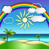 Vector il collage di carta astratto con le palme del sole, del mare, della spiaggia, dell'arcobaleno e Fotografia Stock Libera da Diritti