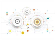 Vector il colore bianco dell'illustrazione e la ruota di ingranaggio sul circuito Fotografie Stock