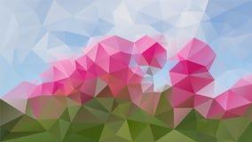 Vector il colore verde, rosa e degli azzurri poligonale irregolare del fondo - modello basso del triangolo poli - immagini stock