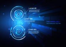 Vector il concetto astratto di comunicazione della tecnologia del fondo, il fondo futuristico, cerchio infographic e techno Immagini Stock