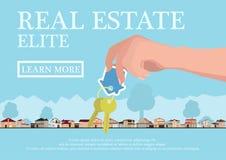 Vector il concetto del bene immobile nello stile piano - mani che danno le chiavi, l'insegna da vendere, le case dell'elite da ve Fotografia Stock