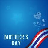 Vector il concetto del giorno di madre ed il fondo della bandiera della Tailandia della struttura Immagine Stock