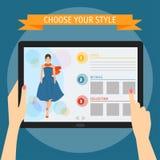 Vector il concetto dell'illustrazione delle mani che tengono il tabl digitale moderno Fotografia Stock Libera da Diritti