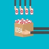 Vector il concetto dell'illustrazione per il progetto di finanziamento raccogliendo i contributi monetari dalla folla della gente Immagini Stock