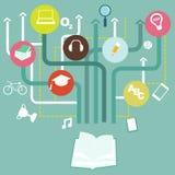 Vector il concetto di istruzione di infographics - albero astratto con le icone Fotografia Stock Libera da Diritti