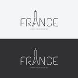 Vector il concetto di progetto della Francia dell'alfabeto con l'icona piana del segno Immagini Stock Libere da Diritti