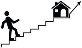 Vector il concetto di un uomo o di un guardiano che scala sulle scale con il thei immagini stock