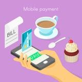 Vector il concetto isometrico 3d per il pagamento online mobile Fotografie Stock Libere da Diritti
