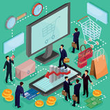 Vector il concetto isometrico dell'illustrazione 3D del commercio elettronico, deposito online Fotografia Stock Libera da Diritti