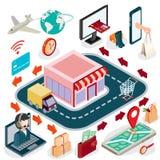 Vector il concetto isometrico dell'illustrazione 3D del commercio elettronico, deposito online Fotografia Stock