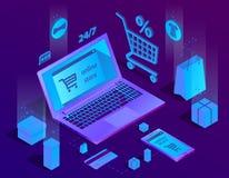 Vector il concetto isometrico di commercio elettronico 3d, deposito online illustrazione di stock
