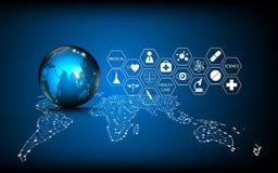 Vector il concetto medico dell'innovazione della tecnologia globale astratta del fondo illustrazione di stock