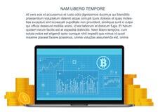 Vector il concetto piano di Bitcoin con il computer portatile e le monete dorate Finanziamento online Investimenti di Bitcoin e t Fotografia Stock