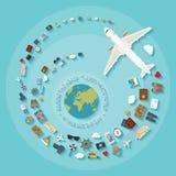 Vector il concetto piano moderno di stile per industria turistica Immagine Stock