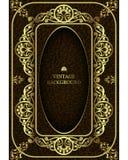 Vector il confine d'annata di lusso nel telaio floreale del modello dell'oro barrocco di stile Il modello per le copertine di lib Fotografie Stock