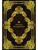 Vector il confine d'annata di lusso nello stile barrocco con la struttura floreale del modello dell'oro Il modello per le coperti Fotografia Stock Libera da Diritti