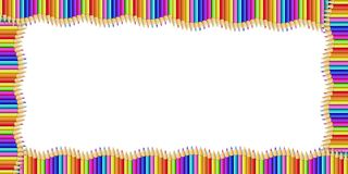 Vector il confine di rettangolo fatto delle matite di legno multicolori isolate su fondo bianco illustrazione di stock