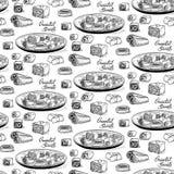 Vector il contesto in bianco e nero senza cuciture di schizzo nello stile incisione Raccolta dei dolci orientali tradizionali Fotografia Stock Libera da Diritti