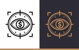 Vector il CONTROLLO FINANZIARIO delle icone lineari di finanza, contante alto Immagini Stock