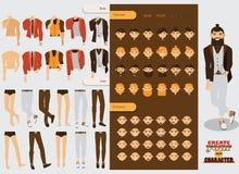 Vector il costruttore con il carattere maschio bello con le parti del corpo di ricambio, le teste variabili, emozioni sul tipo de illustrazione di stock