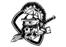 Cranio nel casco del legionario Fotografia Stock