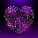 Vector il cuore al giorno felice del ` s del biglietto di S. Valentino che consiste dei poligoni e dei punti su fondo viola scuro Fotografie Stock