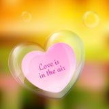 Vector il cuore brillante della bolla con la nota di carta in  Fotografia Stock