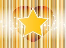 Vector il cuore della stella con la priorità bassa dell'oro delle bande Fotografia Stock Libera da Diritti