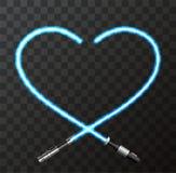 Vector il cuore e la spada laser moderni di concetto per il giorno di biglietti di S. Valentino Immagine Stock Libera da Diritti