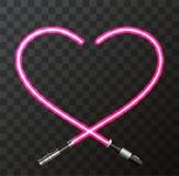 Vector il cuore e la spada laser moderni di concetto per il giorno di biglietti di S. Valentino Fotografia Stock Libera da Diritti