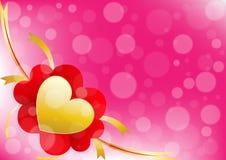 Vector il cuore ed il nastro sul fondo rosa di colore Immagini Stock