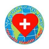Vector il cuore rosso con l'incrocio sul globo per il giorno di salute Immagine Stock Libera da Diritti