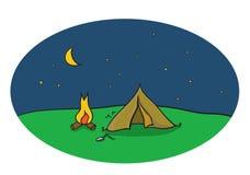 Vector il disegno della scena di campeggio di notte con la tenda ed il fuoco di accampamento Fotografia Stock Libera da Diritti