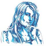 Vector il disegno di arte, ritratto della ragazza di flirt splendida isolata illustrazione vettoriale