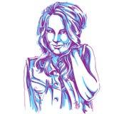 Vector il disegno di arte, ritratto della ragazza di flirt splendida isolata royalty illustrazione gratis