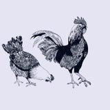 Vector il disegno di un gallo e di una gallina Fotografia Stock