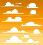 Vector il disegno piano dell'illustrazione del modello della nuvola di pomeriggio del fumetto del cielo scuro di mattina illustrazione di stock