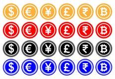 Vector il dollaro dell'illustrazione, l'euro, gli yuan o Yen, di sterlina, la rupia indiana, bitcoin Cryptocurrency Gioco del cas Immagini Stock Libere da Diritti