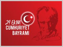 Vector il ekim Cumhuriyet Bayrami, il giorno Turchia dell'illustrazione 29 della Repubblica Fotografia Stock