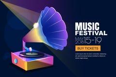 Vector il festival di jazz di musica, il manifesto al neon d'ardore o il fondo dell'insegna Grammofono musicale del vinile di sti illustrazione vettoriale