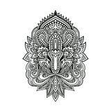 Vector il fiore di Lotus ornamentale, l'arte etnica, l'indiano modellato Paisley Illustrazione disegnata a mano Elemento dell'inv Fotografia Stock Libera da Diritti