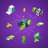 Vector il flusso di denaro isometrico nell'illustrazione infographic di concetto delle icone della banca illustrazione vettoriale